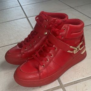Red Aldo Leather High Tops